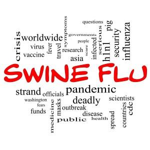 Swine Flu Word Cloud Concept in Red Caps